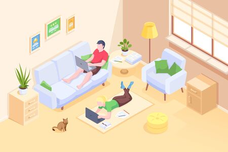 Couple working at home online freelance work, vector isometric illustration of man and woman with computer laptops. Couple freelance or home office job, internet blogger and designer, modern business Çizim
