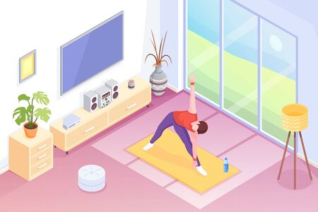 Yoga at home, man doing exercise in room, vector isometric illustration. Yoga sport and stretch workout or morning exercises in room, man in yoga pose on mat, home fitness and health activity