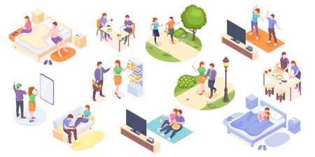 Couple daily life, man and woman together, vector isometric home routine and everyday leisure activity. Couple daily life breakfast eating, watching TV and jogging sport in park, cooking and shopping