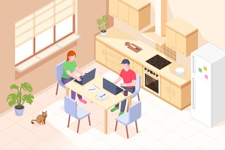Working at home, freelancer online office, couple man and woman with laptops in kitchen, vector isometric illustration. Online home work, remote employee business, freelance job and education concept Vettoriali