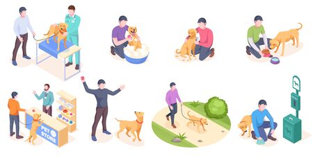 Pet dog care, daily owner life, vector isolated isometric icons. Dog pet and owner daily activity, veterinarian checkup, walking in park and picking pet poop, training with toy ball and grooming Ilustração