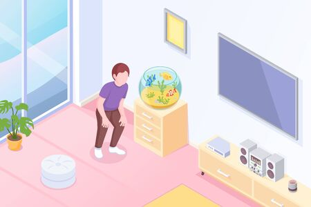 Pets, aquarium fish owner at home, vector isometric illustration. Boy or girl looking at round aquarium on table stand with exotic tropical fishes pets, modern house interior background