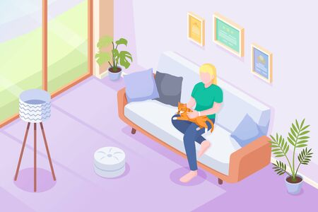 Cat pet and owner on sofa at home, vector isometric illustration. Woman or girl sitting on sofa with cat or kitten on knees, caress and cuddle, domestic pets in house, modern interior background Çizim
