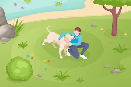 Dog pet and owner playing at grass lawn in park, vector isometric illustration. Girl woman or boy man cuddle and caress dog pet at park lake, domestic animals care and daily life Vettoriali