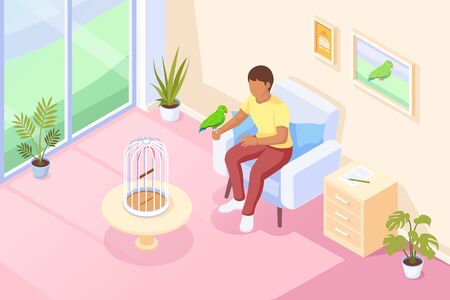 Pets, parrot bird sitting at owner hand, vector isometric illustration. Girl woman or boy man in chair talking, playing with parrot bird sitting on hand, birdcage on table, domestic animals at house Vettoriali