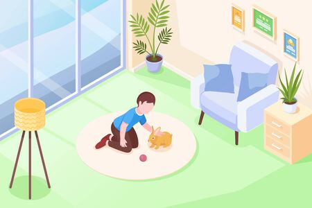 Pets, kid girl playing with rabbit in room, vector isometric illustration. Girl child cuddle rabbit pet and play with toy ball on floor carpet, domestic animals at house, modern flat interior background