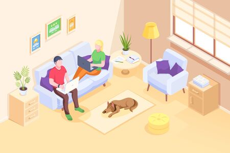 Online work and home office, couple freelancers working with laptops sitting on sofa, vector isometric illustration. Young man and woman couple working from home with computers in room Vettoriali