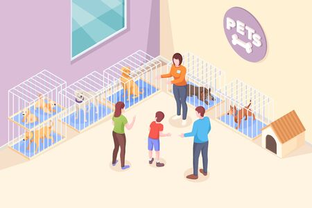 Pet adoption, family chooses dog from shelter, vector isometric illustration. Family mother and father with son at animal shelter to adopt dog puppy, pets adopting take home, rescue and help concept