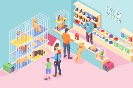 Pet shop cats and dogs, animals and veterinary store, vector isometric design. People buying food and vet products on shelf of pet store, kid choosing puppy dog pet or cat, rabbit and parrot in cage Ilustração