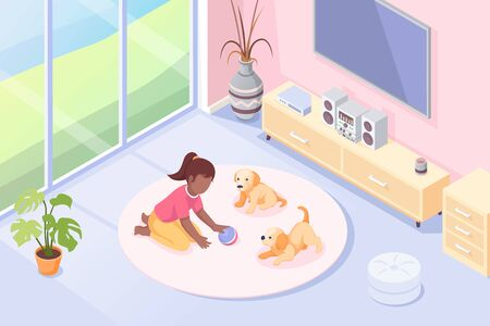 Pets, girl playing with dog puppies in room, vector isometric illustration. Kid girl with toy ball and two puppies playing on floor carpet, domestic animals at house, modern interior background Vettoriali