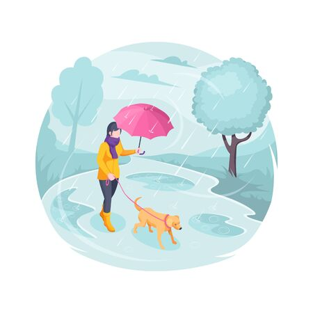 Pet walking in rain, woman with dog, vector isometric flat illustration. Girl with dog on leash walking at autumn rain with umbrella in park, bad cold weather outdoor, owner walking pet in nature