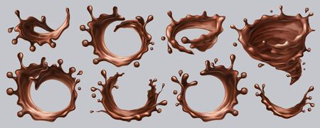 Splash chocolate vector realistic liquid drops, swirl splashes, isolated 3D on transparent background. Milk or dark chocolate splashes, hot chocolate or cocoa syrup circle flow waves and pour drips