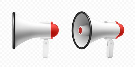 Megaphone speaker or loudspeaker bullhorn, vector realistic 3d mockup. Modern isolated megaphone loudhailer with microphone, red sound horn and handle, lifeguard alert and announcement speakerphone Çizim