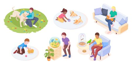 Pets and owners play and care daily life, vector isometric set. Woman cuddles cat on sofa, girl playing with puppies and man walking dog in park, rabbit, parrot and aquarium fishes, pets animals Ilustração
