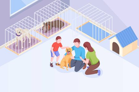 Pet adoption, family plays with dog at animal shelter, vector isometric illustration. Family mother and father with son cuddle and hug happy dog, pet adopting take home, rescue and help concept Ilustração