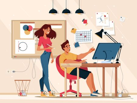 Workflow and teamwork communication in office, team work business management, vector flat illustration. Graphic designer in studio and manager supervisor or work coordinator at project development