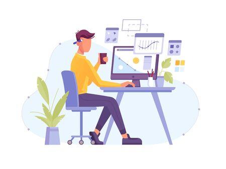 Designer at work in design studio working at computer with digital pen and tablet. Graphic designer or creative artist illustrator and artwork creator drawing design, freelancer man at desktop
