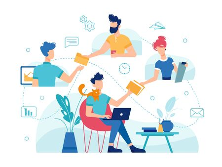 Teamwork home office, online work management and team communication, vector flat thin line design. Home office freelance teamwork people managing corporate business online, modern remote work concept Vettoriali