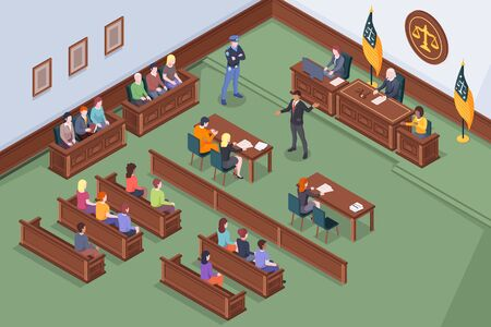 Courtroom process in court vector isometric design, law and justice, judge, lawyer and prosecutor at court hearing. Courtroom legal session with attorney, accused and jury at courthouse legal lawsuit