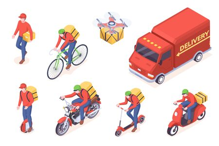 Delivery service transport icons, vector isometric courier man and trucks. Food delivery service courier man with boxes on unicycle scooter, bicycle or motorcycle, drone delivering parcel package
