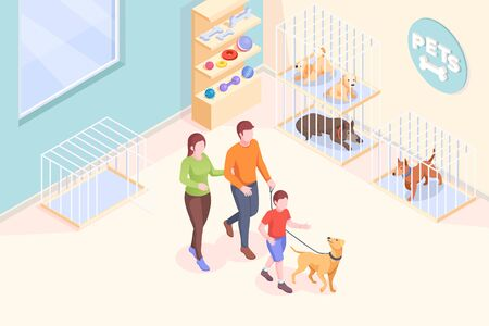 Pet adoption, family takes dog from shelter, vector isometric illustration. Family mother and father with son at animal shelter to adopt dog, pets adopting take home, rescue and help concept Ilustração