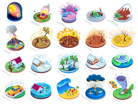 Natural disasters vector isometric or flat icons set, nature catastrophes and insurance damage accidents. Natural disasters flood, fire and tsunami, earthquake with hurricane tornado storm and volcano Vector Illustratie
