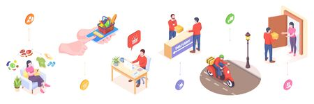 Delivery and online orders service, vector isometric or flat icons of fast food in mobile phone delivery. Online shop orders delivery service, post courier, digital store and supermarket delivery