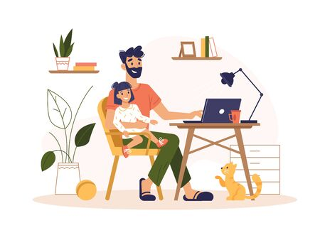 Father work home with laptop, freelance online office, remote internet work, vector flat illustration. Man at home online work sitting with computer and child on knees, freelancer or social isolation