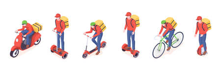Delivery service eco transport vector isometric icons of food delivery courier man. Delivery service couriers on eco vehicles, bicycle, electric scooter, monowheel and motorcycle delivering parcels