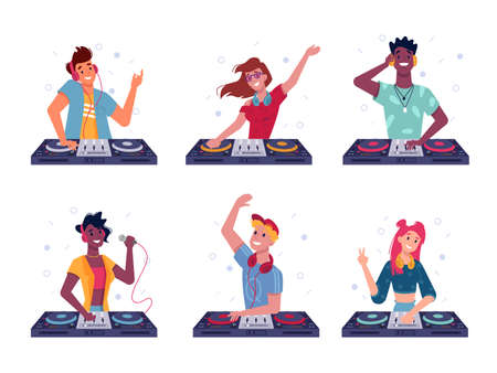 Set of isolated dj at turntable. Party man and woman play at disco. Cartoon male and female with headphone and mic, vinyl. Night discotheque or nightclub sign. Disc jockey scratching. Music, sound
