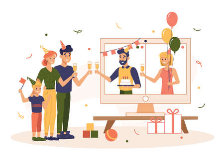 Online quarantine birthday party with family . Cartoon adult and children celebrating holiday using internet call. Virtual communication and celebrating. Video chat flat vector illustration design Vettoriali