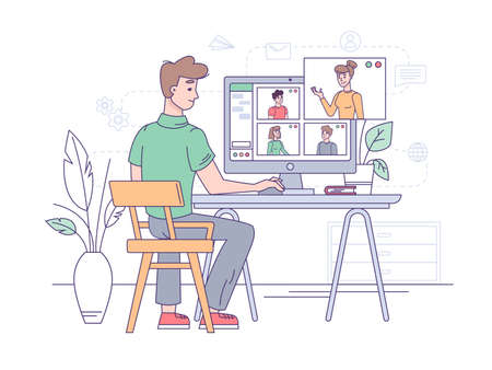 Video conference, online business call and office communication, vector flat illustration. Video conference or group chat, home office, webinar internet meeting, teamwork conversation, work and study
