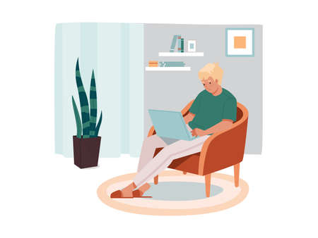 Man freelancer sitting at chair with notebook. Male remote worker with laptop. Cartoon character doing job remotely at his living room. Freelance and home workplace, internet employee, worker
