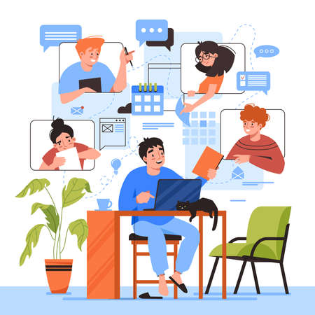 Teamwork online home office, team people working, video conference and e-mail communication, vector flat illustration. Freelancers online office and teamwork, business management tasks and schedules Çizim