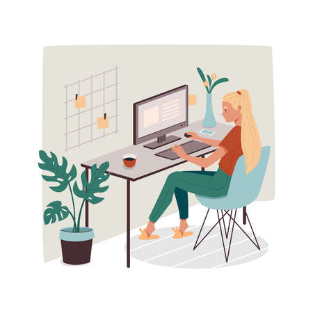 Woman at office or home working with computer. Girl doing remote job using PC. Lady employee or female designer with stickers. Cartoon freelancer with coffee. Freelance sign design Vettoriali