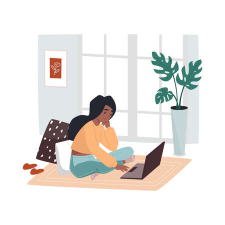 Home working woman sitting on floor near notebook. Girl at room work at her laptop. Remote job vector illustration. Living room workplace. Female designer sitting on rug. Freelance employee