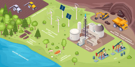 Renewable energy resources and nonrenewable, natural green power sources, vector isometric. Renewable earth resources solar and wind electricity, plants, coal, gas and oil extraction, forest timber Ilustração