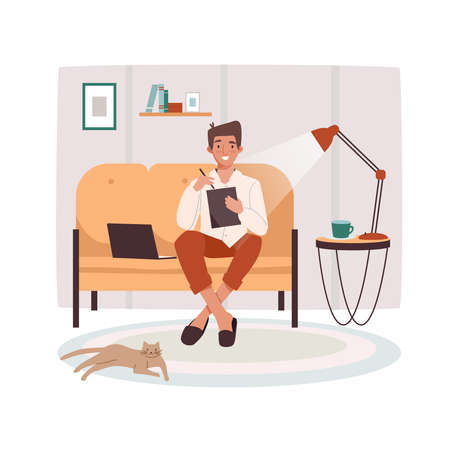 Remote worker at sofa with tablet and notebook. Man doing remote job near lamp and cat. Male remotely working in the evening. Freelance vector illustration design. Cartoon freelancer, designer, editor Ilustração