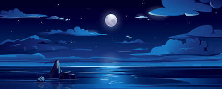 Night landscape with moon, sea or ocean, sky and clouds. Scenic view on midnight ocean with rock. Dark summer seascape. Background or backdrop for tourism or travel. Nautical wallpaper. Water