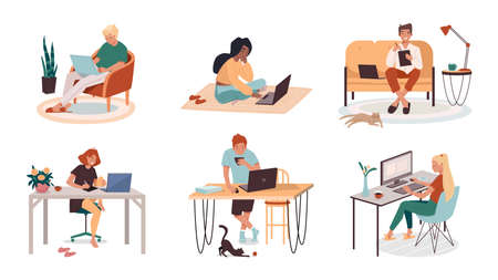 Collection of man and woman at home work or job. Set of cartoon people working remotely from living room or kitchen. Comfortable workspace interior. Workplace and freelance concept. Cartoon freelancer Vettoriali