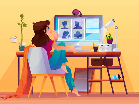 Woman doing conference video call. Girl at computer using online chat for professional meeting. Cartoon people at distance discussion or remote presentation, training or seminar. Modern communication