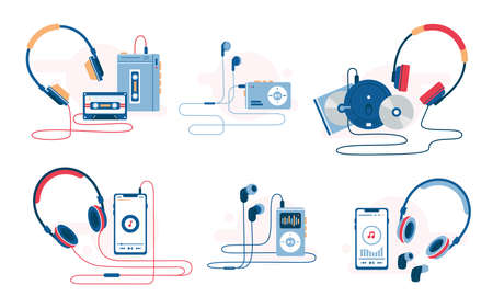Music player evolution vector illustration. Set of retro and modern music listening devices. Cassette and cd player, smartphone with wire earphones and wireless headphones. Sound history.