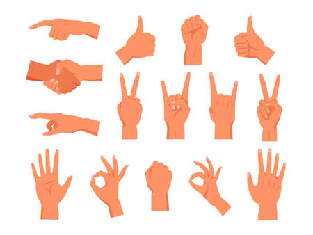 Set of vector hand gesture. Non verbal palm symbol. Clenched or raised fist, finger pointing or touch, thumb up, handshake, sign of horns or rock, high five, victory or peace, ok, good. Human gestures