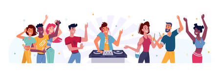 Set of people dancing at party and DJ. Man at turntable near happy person at birthday or holiday celebration, concert. Nightclub young crowd. Friend group entertainment. Music and dancer theme