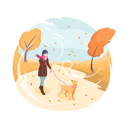 Pet walking in autumn wind, vector isometric flat illustration. Woman with dog on leash walking in autumn fall park in wind with falling leaves, bad cold weather outdoor, owner walking pet in nature