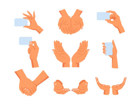 Set of isolated human hands gesture. Sign of hold, take and give, peace and growth, nature care and love grip. Arm holding empty or blank visit or credit card. Gesticulation and people theme Ilustração