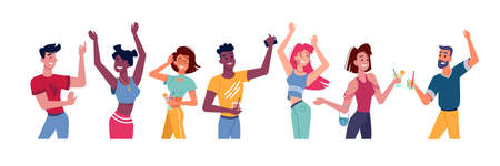 People dance at party or happy flat person at disco. Friends discotheque or young crowd with cocktail dancing. Man and woman dancer. Group of young teen at nightclub or concert. Nightlife activity Ilustração