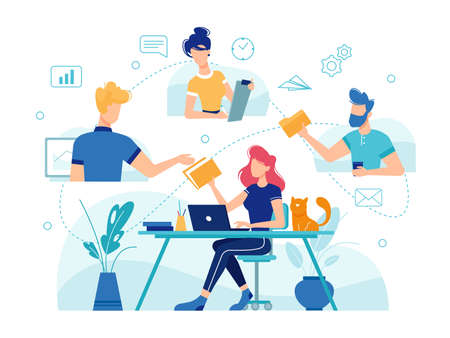 Teamwork online home office, team people work management and communication, vector flat and thin line illustration. Home office freelance teamwork online management tasks, e-mail and video conference