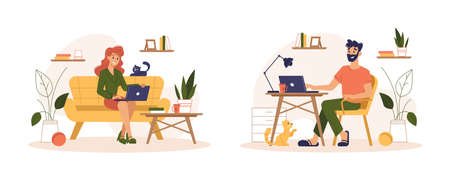 People working at home office, freelance home work online, vector flat illustration. Man and woman working at home sitting at computer table and sofa with laptops, freelancer workers Ilustração