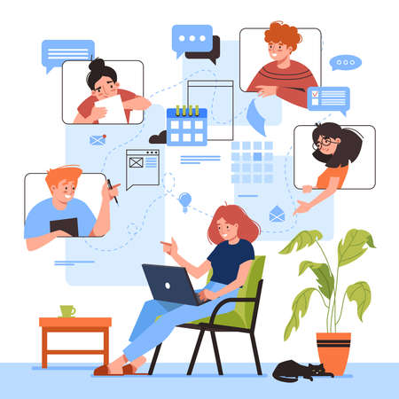 Online meeting vector illustration design. Woman with laptop at remote work conference. Virtual video study or education, business planning. Flat cartoon people discussion. Home office concept.